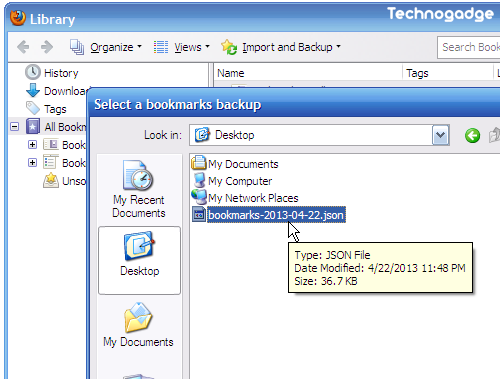Image 1 importing bookmarks from a firefox bookmarks export file