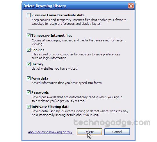 How to Delete Internet Explorer Browsing History? - TechnoGadge