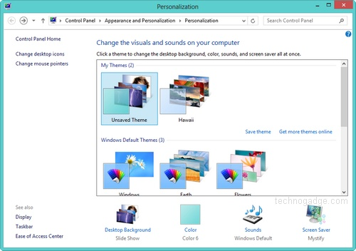 How to change theme in Windows 8? - TechnoGadge
