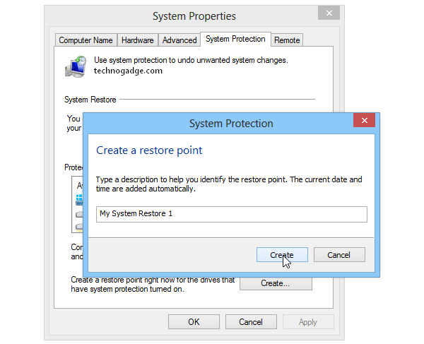 How to create a Restore Point in Windows 8?