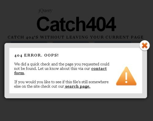 Catch404 jQuery Plugin